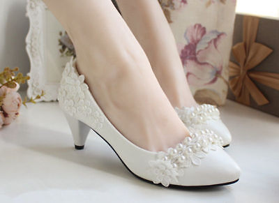 White Bridal Flower Prom Wedding Flat/3/4.5/8.5cm Bridesmaid Lace Pearl Shoes