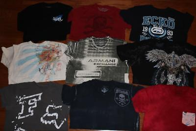 Lot 9 Mens Graphic T Shirts Affliction Tees Miami Ink Armani Exchange Fox Large