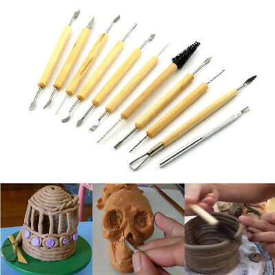 11x Craft Wooden Clay Tools Set Wax Plaster Soap Pottery Modelling Carving UK