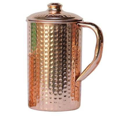 Pure Copper Hammered Water Jug Copper Good for Health Ayurveda 1.5 ltr fs