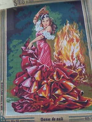 Danse Of The Night Flamenco Dancer  Tapestry Canvas New Made In France