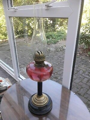 ANTIQUE DUPLEX OIL LAMP WITH PINK GLASS FONT BRASS COLUMN...unusual pressie