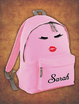 Personalised eyelashes Kids Backpack - Any Name Girls Boys Back To School Bag