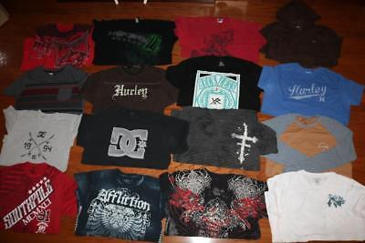 Lot 16 Mens Graphic T Shirts Tees Dc Shoes Hurley Reckless Tapout Affliction Xl
