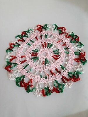 Baby Pink, 3 Rings; Very Merry Bumblebee doily Approximately 5 Inches. Vintage.