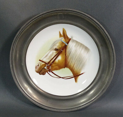 Old French Limoges Porcelain & Pewter Wall Plate~ Stallion Horse Head Equestrian