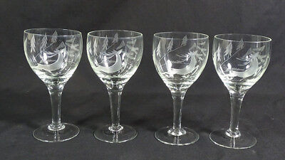 4 Art Deco Bohemian Cut Crystal Glass Liquor Stemmed Cups Set~ Hunting Deer Stag