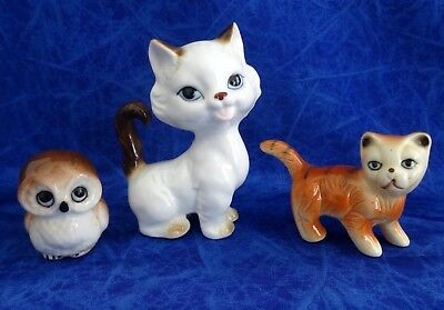 Three Vintage Ornaments Two Cats And An Owl