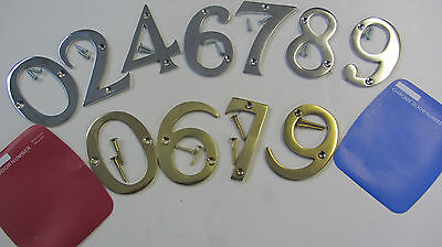 "3""  Chrome ~  Door Numerals House Numbers ~ Brass"