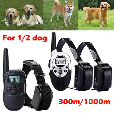 Anti-Bark Electric Shock E-Collar Training Remote Control Rechargeable 1/2 Dogs