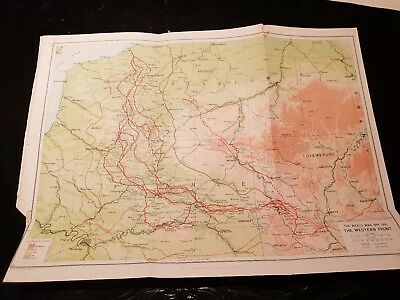Map of The Western Front - WW1- 1924 Book Print