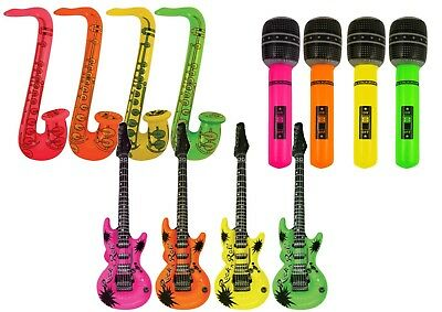 Inflatable Music Instruments Guitar Microphone Saxophone Neon BLOW UP LOT