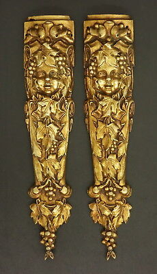 PAIR OF FALLS ORNAMENTS, LOUIS XVI STYLE - BRONZE - FRENCH ANTIQUE - 4 available