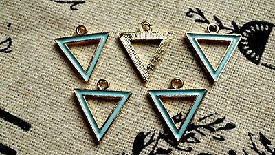 Triangle geometric gold & pale blue 10 charms jewellery supplies C381