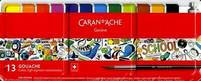 Caran d'Ache School Line | Metal Box of Gouache Pans | Assortment of 13 Colours