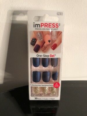 New imPRESS One-Step Gel Dual-Layer Self Adhesive Press On Matte Nails 62303