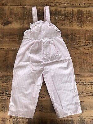 Vintage Baby Girl Dungarees - Pink Pinstripe - Bow Detail - Cotton - 6-12 Months