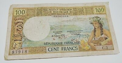 Tahiti Papeete 100 Francs paper banknote D'Outre Mer