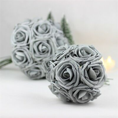 5pcs Colourfast Foam Rose Artificial Fake Flower Party Wedding Home Decor Silver