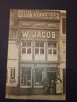 Rare carte postale animée à Verviers Cycles Le Lion