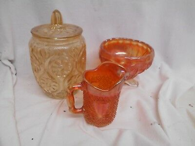 Trio of Vintage CARNIVAL GLASS Bowl DISH Jugs Retro 1960s 1950s Lidded 19cms