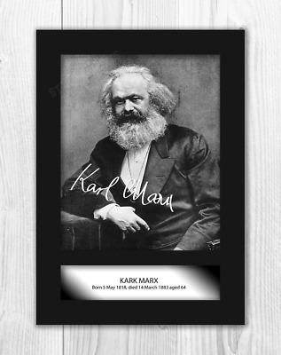 Karl Marx A4 signed mounted photograph poster. Choice of frame.