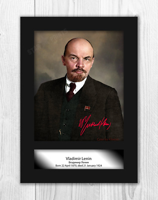 Vladimir Lenin A4 reproduction signed photograph poster. Choice of frame.
