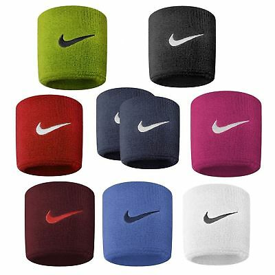 Nike Sweatband Swoosh - 2 Pack Wrist Bands - Various Colours Tennis Gym Sports