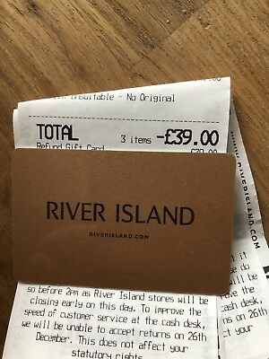 £39 River Island Gift Card Voucher Store Credit