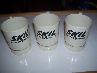 Lot of 3 Vintage Skil Power Tools Advertising Sweetheart Plastic Mug Cups