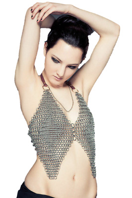 New Medieval Viking Antique Sexy Alumnium Chain Mail Bra For Women Swimming