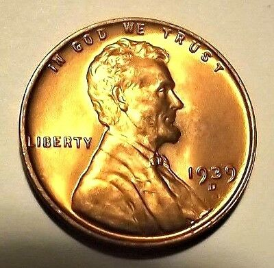 "1939-D""KEY DATE""Lincoln Wheat 1c""SUPER LOW MINTAGE""GEM BU/RED from OBW roll."