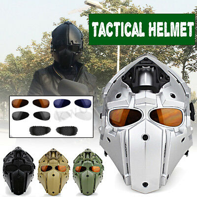 Helmet Airsoft Paintball CF Game Full Face Mask Tactical Protective HL-90 w/ Fan