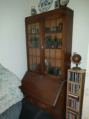 Oak Bureau Bookcase With Coloured Glass Doors