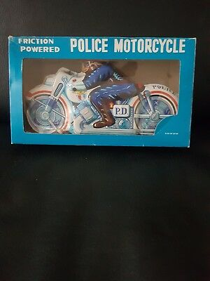 Vintage 1960s Tin Toy Friction Powered Police Motorcycle Japan New Free Postage!