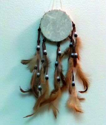 Decorative Drum Beads Feathers Made in the Style of the Native American Buckskin