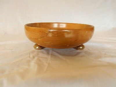 Vintage Hasselbring Wood Salad Bowl With Sterling Feet