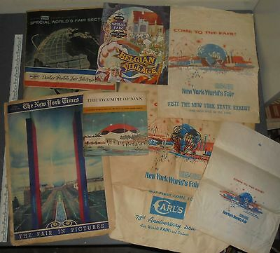 New York World's Fair Lot Newspapers Record Gift Bags Etc