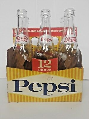 6 Pack of Pepsi Cola Soda Bottles Taste that beats the others Cold Vintage