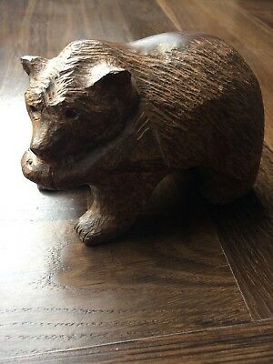 ANTIQUE. BLACK FOREST? Hand Carved Wooden Bear With Fish