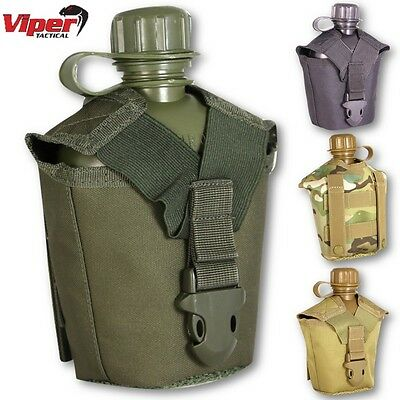 Viper Tactical Modular Water Bottle & Pouch Hiking Molle Airsoft Camping Canteen
