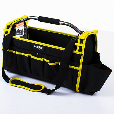 "19"" Tool Bag Heavy Duty Black & Yellow Carry Tote Storage Chest Organiser 480Mm"
