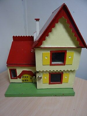 Vintage Style Hand Made Wooden Kids Childs Doll House With Furniture