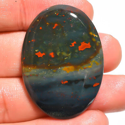 47.75 Ct. Natural Bloodstone Oval Cabochon Loose Gemstone 38X27X6 Mm Gr-3917