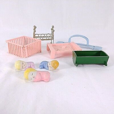 Doll House Furniture Mixed Lot of 8 Bedroom Ceramic Babies Outside Toys