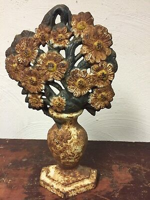 Antique Vintage Cast Iron English Floral Vase Door Stop