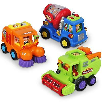 Friction Powered Push And Go Car Toys For Boys - Construction Vehicles Set 1 2 3