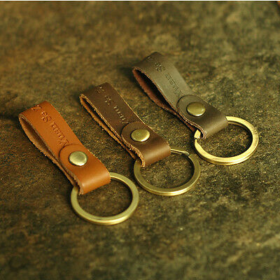 Men Women Handmade Leather Keychain Key Ring Copper Ring Durable Decoration Clip