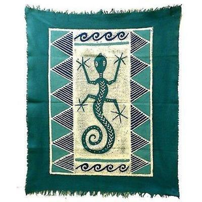 Gecko Batik In Three Blues Wall Hanging