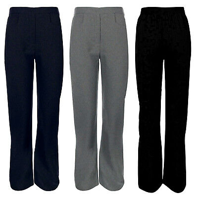Girls Pull Up School Trousers Half Elasticated Waist Uniform Plain Pants Bottoms